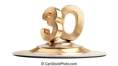 30 golden 3d-illustration isolated on white