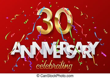 30 golden numbers and Anniversary Celebrating text with colorful serpentine and confetti on red background. Vector celebration 30th anniversary event horizontal template