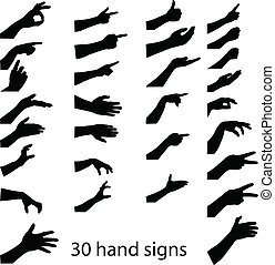 30 hands silhouettes . vector illustration