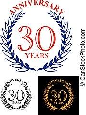 30, heraldic, 花輪, 記念日, 年, 月桂樹