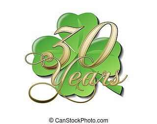 30, Jahre, Goldenes, Jubil?um, Kleeblatt - 30, goldenes,...