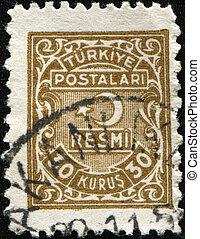 TURKIE - CIRCA 1947: An Official Stamp printed in Turkey, circa 1947