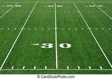30, línea yarda, en, fútbol americano, campo