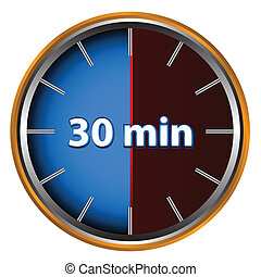 30 minutes - Unique icon of hours with thirty minutes
