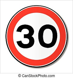 30 MPH Limit Traffic Sign - A large round red traffic...
