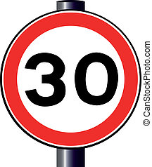 30 MPH Sign - A large round red traffic displaying a thirty...
