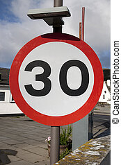 30 mph Speed Sign in Urban Setting