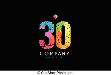 30 number grunge color rainbow numeral digit logo