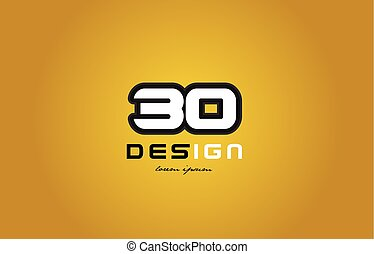 30 number numeral digit white on yellow background