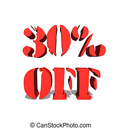 30% off red word on white background illustration 3D rendering