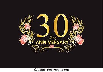 30, ouro, grinalda, aniversário, ilustração, anos, aquarela, vetorial