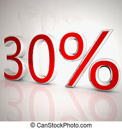 30 per cent over white reflecting background, 3d rendering