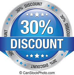 30 percent discount blue silver button