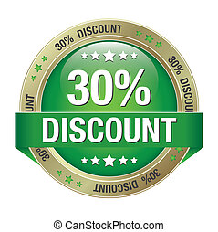 30 percent discount green gold button isolated
