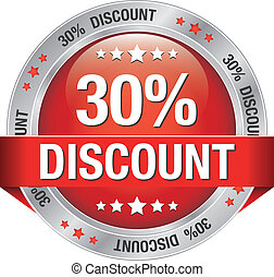 30 percent discount red silver button isolated