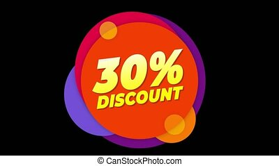 30% Percent Discount Text Flat Sticker Colorful Popup...