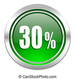 30 percent icon, green button, sale sign