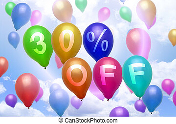 30 percent off discount balloon colorful balloons