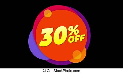 30% Percent Off Text Flat Sticker Colorful Popup Animation....
