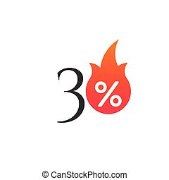30 percent off with the flame, burning sticker, label or icon. Hot Sale flame and percent sign label, sticker. special offer, big sale, discount percent off. Vector illustration isolated on white background