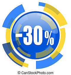 30 percent sale retail blue yellow glossy web icon