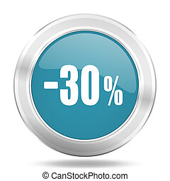 30 percent sale retail icon, blue round glossy metallic button, web and mobile app design illustration