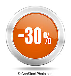 30 percent sale retail orange icon, metallic design internet button, web and mobile app illustration