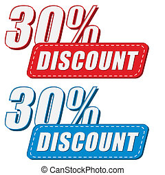30 percentages discount in two colors labels, flat design