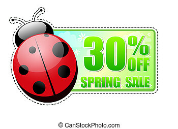 30 percentages off spring sale green label with ladybird