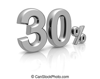 30 percents discount symbol with reflection isolated white background
