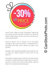 30 Price Off Promo Sign on Circle with Thin Bow