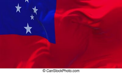 30. Samoa Flag Waving in Wind Continuous Seamless Loop Background.