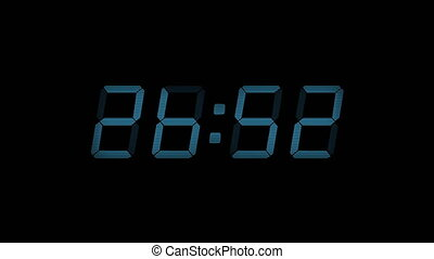 30 Second Digital Countdown Display Blue 4K