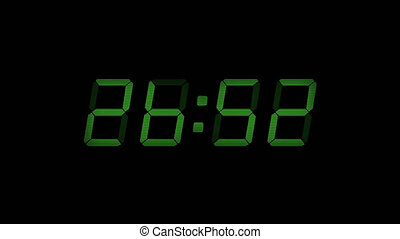 30 Second Digital Countdown Display Green 4K
