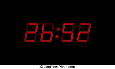 30 Second Digital Countdown Display Red 4K