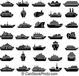 30 Ship and boat icon set.