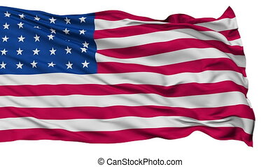 30 Stars USA Isolated Waving Flag - 30 Stars United States...