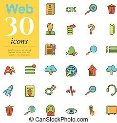 30, toile, couleur, icônes