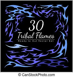 30, tribal, flammes, -, rod chaud, flammes