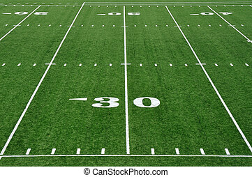 30 Yard Line on American Football Field - Thirty Yard Line...