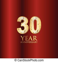 30 Year Anniversary Gold With Red Background Vector Template Design Illustration