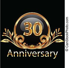 30 years anniversary birthday in gold