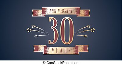 Isolated abstract golden 30th anniversary logo on black clipart