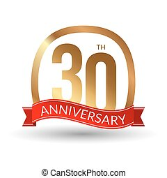 30 years anniversary experience gold label with blue ribbon, vector illustration