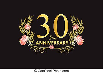 30 Years anniversary gold watercolor wreath vector illustration