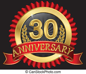 30 years anniversary golden label with ribbons, vector...