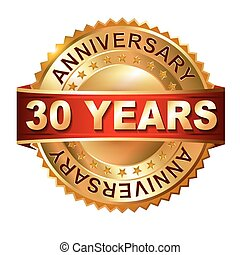 30 years anniversary golden label with ribbon. Vector eps 10...
