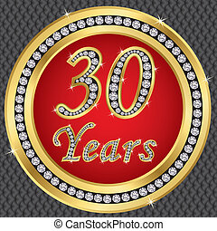 30 years anniversary, happy birthday golden icon with...