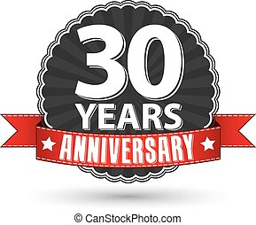 30 years anniversary retro label with red ribbon, vector illustration
