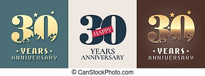 30 years anniversary set of vector icon, symbol, logo